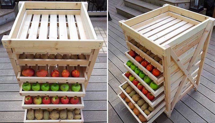 Стеллажи для хранения яблок
